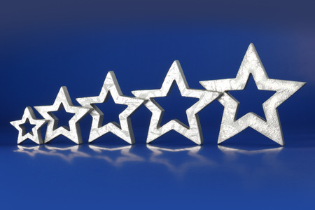 five stars: Five Star Rating 5 silver stars in ascending order on blue background