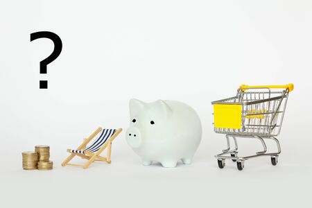 A question mark above a stack of coins a deckchair piggybank and a shopping cart on white background photo