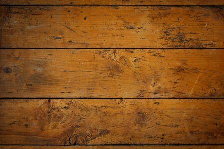 floorboards: Vintage floorboards with wood worm galleries, vignette, grunge effect, background, copy space