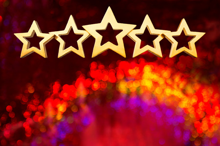 five stars: Five golden shining stars on a magical background with blurred sparkles, copy or text space