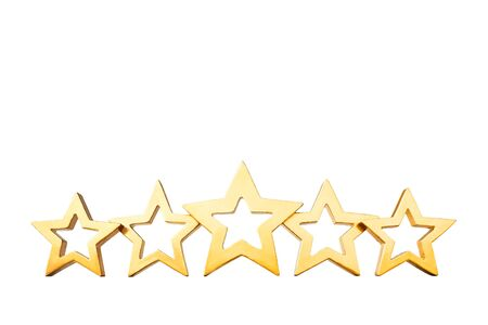 rated: Five golden shining stars isolated on white background, symbol for best rated products, copyspace, copy, space Stock Photo