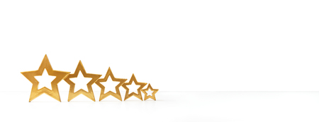 five stars: Five golden shimmering stars on white background, copy space, panorama format, banner