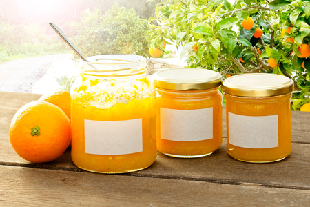 marmelade: Home made orange marmelade in jam jars, one with an open lid and a spoon inside, on a dark wooden table with an orange tree in the background on a sunny summer day, copyspace Stock Photo