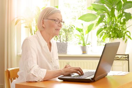 屈託のない退職の良い金融計画の利点を楽しんで彼女のラップトップの前に彼女の日当たりの良いリビング ルームで幸せな先輩女