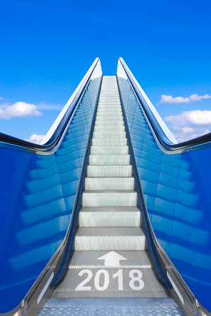 escalator blue sky year 2018