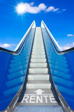 Escalator into a blue sky, concept of achievement, german text RENTE, meaning retirement or pension Banco de Imagens