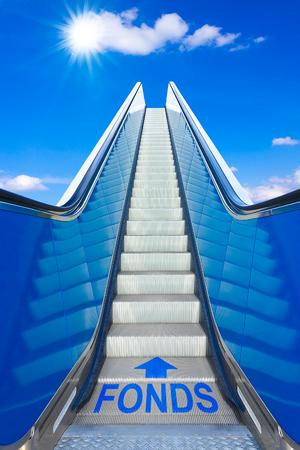 escalator blue sky german text FONDS funds 版權商用圖片