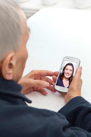Old person mobile phone video call
