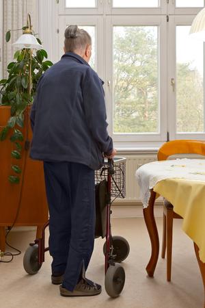 senior woman three wheel walker