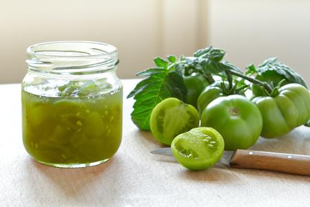 homemade green tomato jam chutney Banco de Imagens