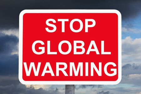 warning sign STOP GLOBAL WARMING Imagens