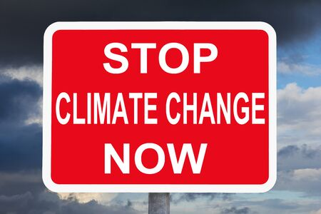 warning sign STOP CLIMATE CHANGE NOW
