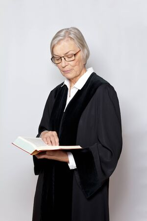 Female judge magistrate black gown