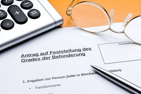 Request for classification of disability level in german: antrag feststellung behinderung.