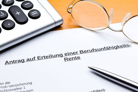 Request for occupational disability pension in germany: request for occupational disability pension.