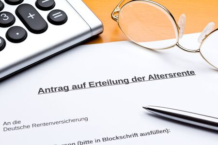 Application for the grant of old-age state pension in germany: rentenantrag.