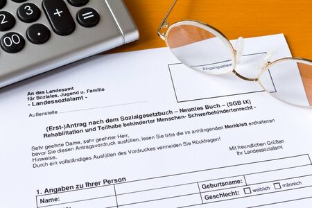 Application for a disabled person's pass in germany: antrag schwerbehindertenausweis.