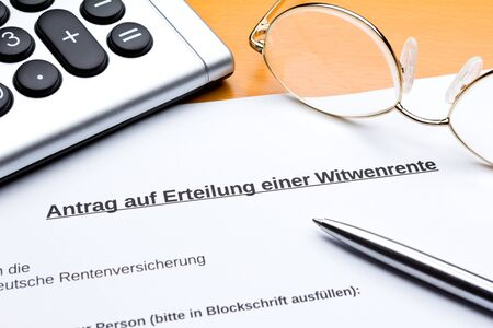 Request for state pension after death of husband in germany: antrag witwenrente.