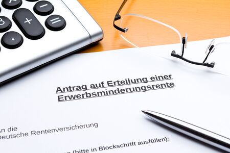 Request for partial invalidity pension in germany: antrag erwerbsminderungsrente.