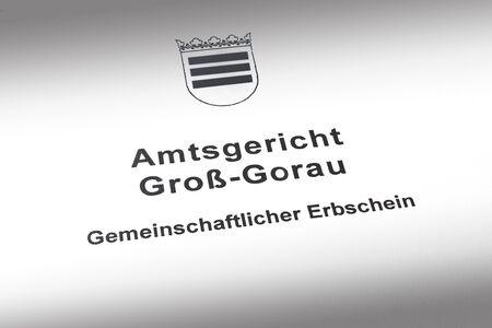 German joint inheritance certificate from the probate court: gemeinschaftlicher Erbschein.
