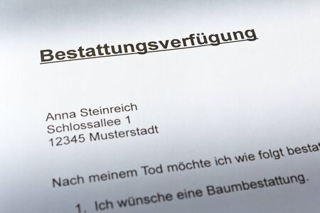 German advance funeral or burial directive document: bestattungsverfügung