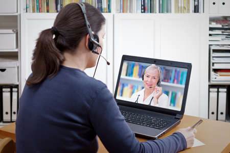 patient headset video consultation doctor