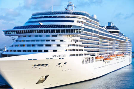 BRIDGETOWN, BARBADOS - JANUARY 2, 2018: MSC Fantasia cruise ship or cruiseliner from MSC Cruises, frontal view.