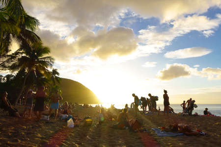 Sunset at Grande Anse Plage, near Deshaies, Guadeloupe, french caribbean