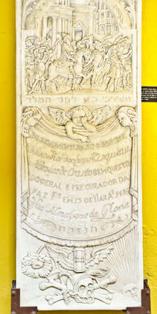 WILLEMSTAD, CURACAO - JANUARY 9, 2018: Tombstone replica at the jewish Synagogue Mikve Israel-Emanuel, dedicated in 1732. Éditoriale