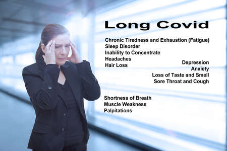Frequent long covid syndrome symptoms: disorders of the respiratory system, the heart and mental dysfunctions, like fatigue.