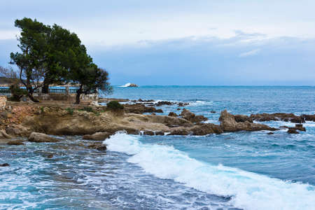 Waves at the seashore of Cala Ratjada, near Capdepera, balearic island of Majorca or Mallorca, in winter.