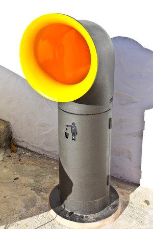 Cala Figuera, Majorca or Mallorca, Spain - Feburary 3, 2015: extraordinary yellow and black periscope shaped rubbish bin. Éditoriale
