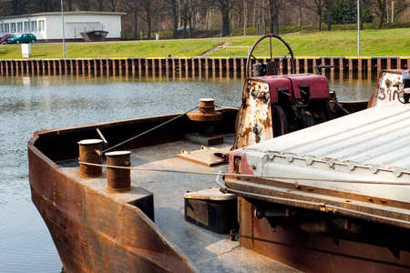boat lift: Barge in the canal in front of the boat lift Editorial