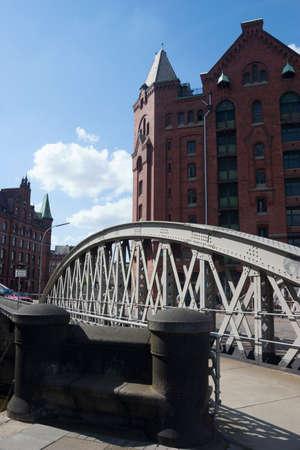 mooring bollards: Bridge in the Speicherstadt of Hamburg