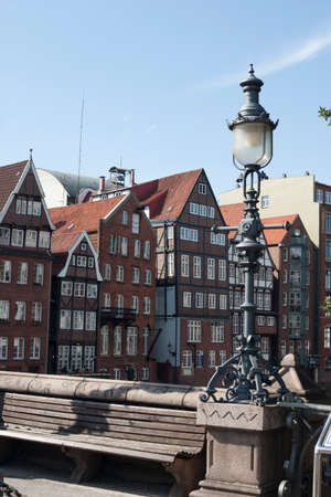 parapet: Houses in Hamburg at the Fleet with Light
