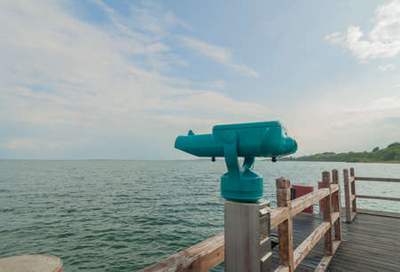 eyepiece: Eyepiece of a telescope on a pier at the M?ritz Stock Photo