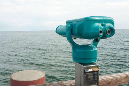 foresight: Binoculars on a sea bridge in Klink at the M?ritz