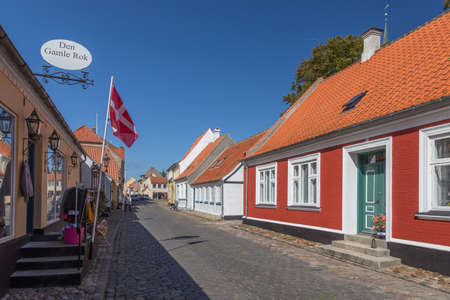 country store: Narrow street in Aeroeskoebing and country store Editorial