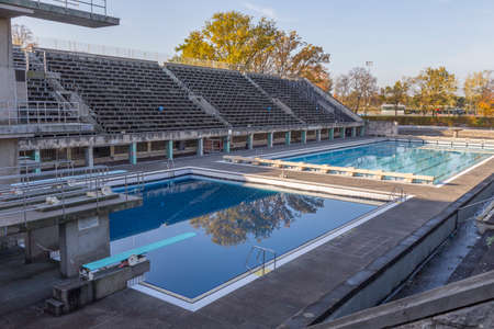 olympic stadium: Two Olympic swimming pools in the Olympic Stadium in Berlin Editorial