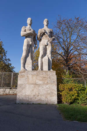 olympic stadium: Athlete statues in the park of the Olympic Stadium Berlin Editorial