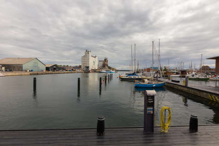 mooring bollards: View of the yachting port of Svendborg, Fyn, Denmark Editorial