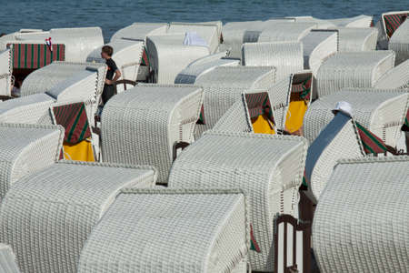 beach chairs: Closely packed beach chairs on the beach of Sellin