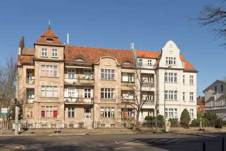 restored: Decaying and restored building in Potsdam Editorial