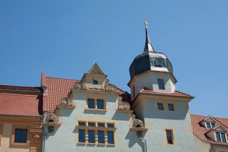 house gable: Small tower and broad gable on a house in Gotha