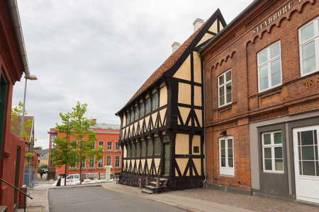 gabled houses: Half-timbered house in the city of Svendborg, Denmark Editorial