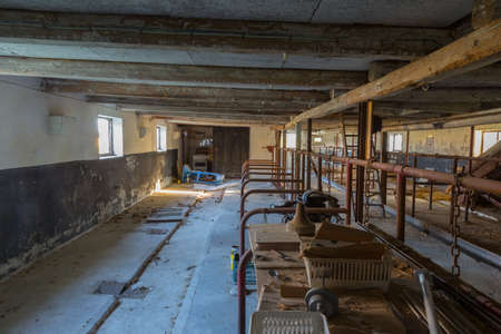 inoperative: Abandoned pigsty in an abandoned building on Langeland, Denmark Stock Photo