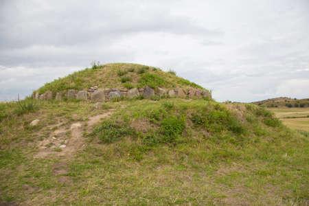 scrub grass: Giants grave on the southern tip of the island of Langeland, near Bagenkop