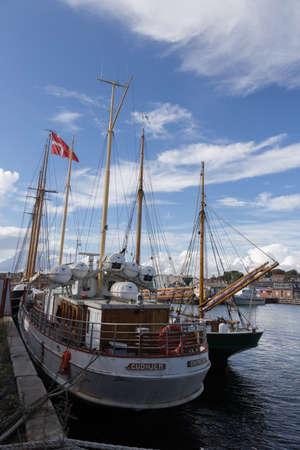 shrouds: Motor ship in the ferry port of Svendborg, Fyn, Denmark Editorial