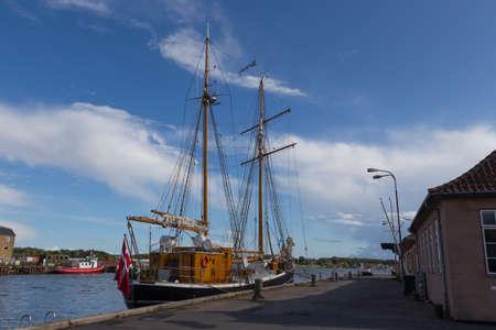 shrouds: Large sailing ship in the ferry port of Svendborg, Fyn, Denmark