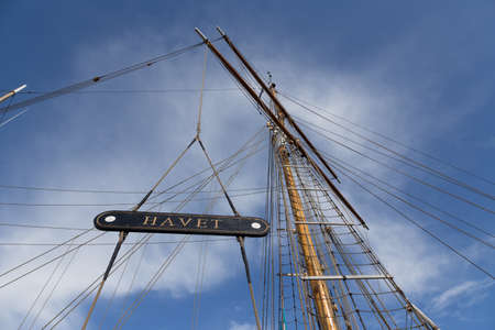 shrouds: Mast of a sailing vessel in the ferry port of Svendborg, Fyn, Denmark